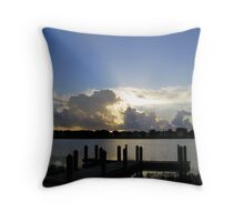 dock at sunrise Throw Pillow