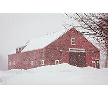 Winter Red Barn Photographic Print