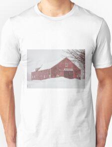 Winter Red Barn Unisex T-Shirt