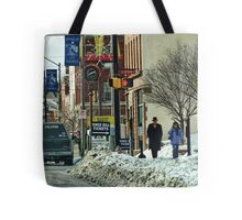 A Snowy Day in Town Tote Bag