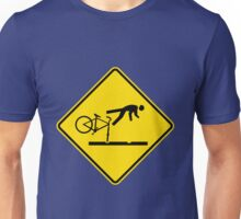 New Zealand- Cyclists Take Care on Rail Tracks Unisex T-Shirt