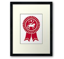 Horse vaulting ribbon winners badge Framed Print