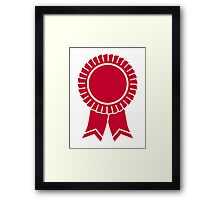 Red rosette winners badge Framed Print