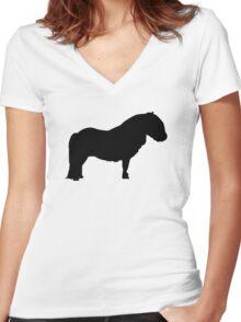 Shetland pony Women's Fitted V-Neck T-Shirt