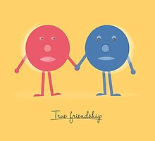 Friendship concept with cartoon character doodles by colourstudio