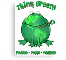 Think Green Frog For The Environment Canvas Print