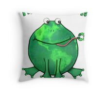 Think Green Frog For The Environment Throw Pillow