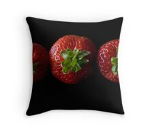 Strawberry line up Throw Pillow