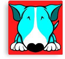Aqua and White Bull Terrier Canvas Print