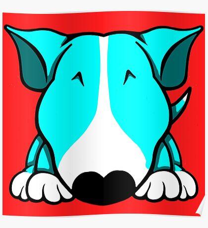 Aqua and White Bull Terrier Poster
