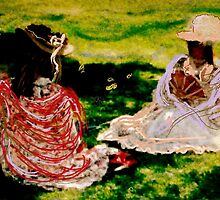 Young girls chatting on grass by Anna  Lewis