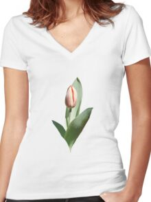 Tulip Coming Out Women's Fitted V-Neck T-Shirt