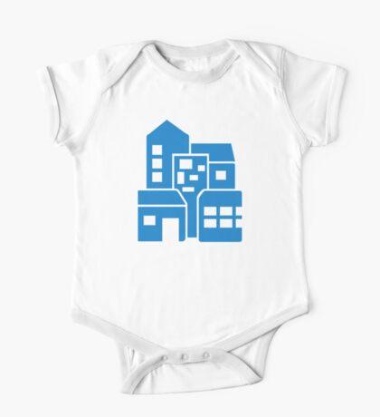 Blue buildings One Piece - Short Sleeve