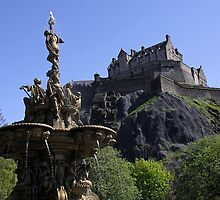 Edinburgh Castle and Ross Fountain by ljm000
