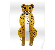 Digital Leopard Illustration Poster
