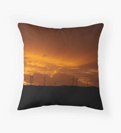 Sunset at the Lake Bonney Wind Farm Throw Pillow