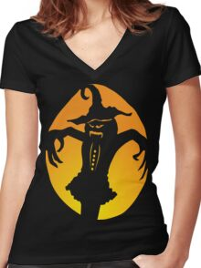 Scarecrow Jack-O-Lantern Women's Fitted V-Neck T-Shirt