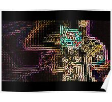 SUPERBOWL art, MODERN, ABSTRACT, multicolored pixel art, flipped photo Poster