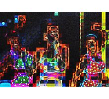 SUPERBOWL beach girls, abstract pixel art, flipped photo Photographic Print