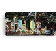 SUPERBOWL halftime, beach girls, abstract pixel art, flipped photo Canvas Print