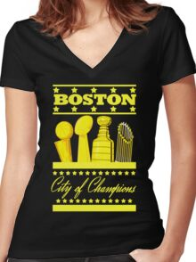 Boston - City of Champions (Gold) Women's Fitted V-Neck T-Shirt