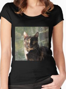 Tortoiseshell cat looking at camera Women's Fitted Scoop T-Shirt