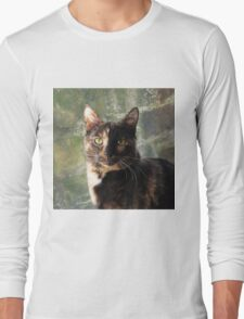 Tortoiseshell cat looking at camera Long Sleeve T-Shirt