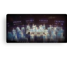 Electric blue, halftime Superbowl 2015, abstract modern, panoramic,  flipped photo Canvas Print