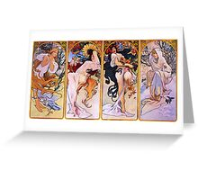 'The Four Seasons' by Alphonse Mucha (Reproduction) Greeting Card