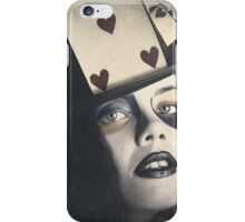Vintage queen of hearts wearing poker card iPhone Case/Skin