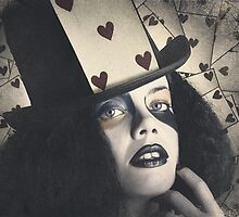 Vintage queen of hearts wearing poker card by Ryan Jorgensen
