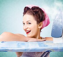 Cleaning pin-up housewife with hot clothing iron  by Ryan Jorgensen