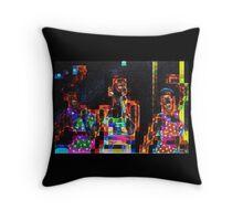 SUPERBOWL beach girls, abstract pixel art, flipped photo Throw Pillow
