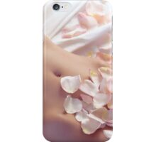 Pink rose petals on nude woman body art photo print iPhone Case/Skin