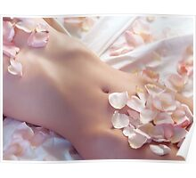 Pink rose petals on nude woman body art photo print Poster
