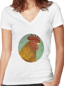 Rooster portrait Women's Fitted V-Neck T-Shirt