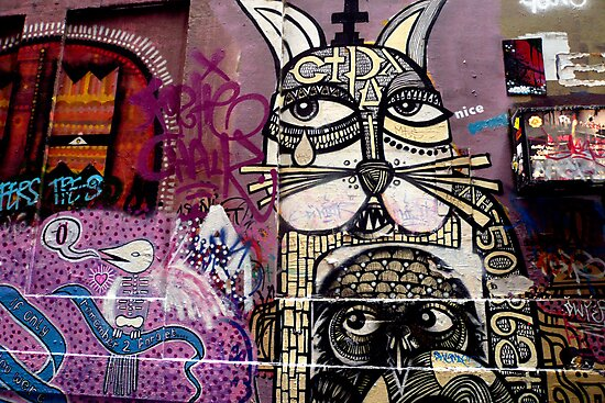 Cat and Bird Graffiti, Melbourne CBD by Roz McQuillan