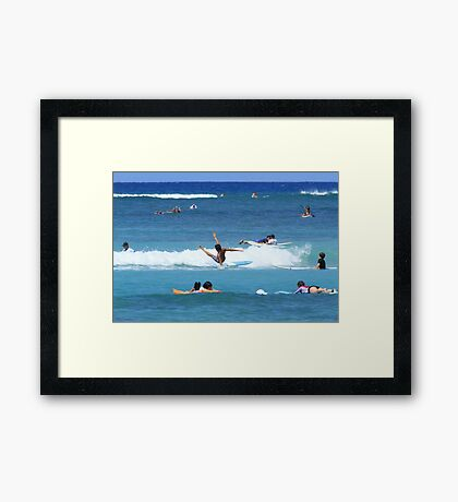 Wiping out surfing Framed Print
