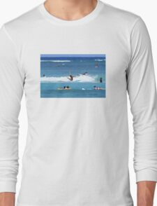Wiping out surfing Long Sleeve T-Shirt