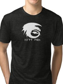 Toothless + Runic Text (white) Tri-blend T-Shirt