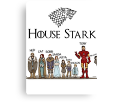 Game of thrones House Stark and Tony Stark Canvas Print