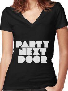 PARTYNEXTDOOR White Women's Fitted V-Neck T-Shirt