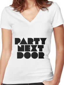 PARTYNEXTDOOR Black Women's Fitted V-Neck T-Shirt