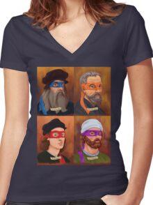 The Renaissance Ninja Artists Women's Fitted V-Neck T-Shirt
