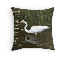 Egret Wonder Throw Pillow