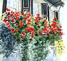 Charleston Yellow House and Geraniums by LinFrye