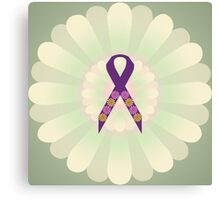 Purple Ribbon - Green Floral Design  Canvas Print