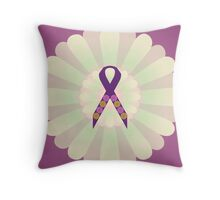 Purple Ribbon - Pink Floral Design  Throw Pillow