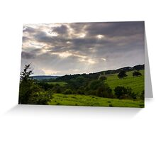 God Rays over Northumberland Greeting Card