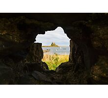 Lindisfarne Castle through Rock Photographic Print